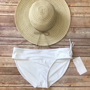 Athleta Side Tie Swimsuit Bottoms White Size M NWT